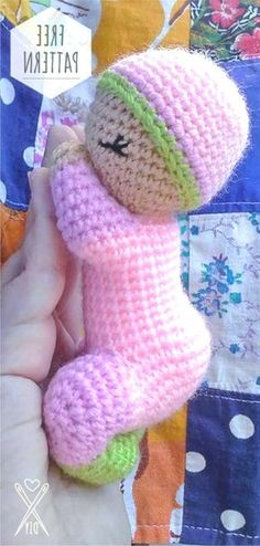 Knitting Bordado Amigurumi Baby Free Pattern Learn the rudiments of how to needlecraft (generic term Crochet Dolls Free Patterns, Crochet Doll Pattern, Knitting Patterns Free, Doll Patterns, Free Knitting, Pattern Ideas, Crochet Diy, Crochet Patterns Amigurumi, Crochet Gifts