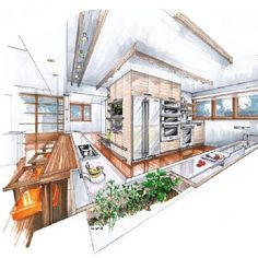 Interior Design Sketches Kitchen kitchen sketch … | pinteres…