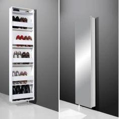 Igma Mirrored Rotating Shoe Storage Cabinet In White Bathroom Storage Units, Hallway Storage, Shoe Storage Cabinet, Storage Cabinets, Tall Cabinets, Contemporary Hallway Furniture, White Furniture, Furniture Sale, Furniture Making