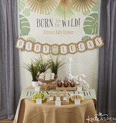 Born to Be Wild Party   Jungle Themed Baby Shower   Safari Shower   Animal Cracker Favors   DIY Gold Animals