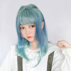 Harajuku Blue Green Gradient Perücke - New Site Kawaii Hairstyles, Hairstyles Haircuts, Braided Hairstyles, Wedding Hairstyles, Kpop Hair Color, Wig Styles, Long Hair Styles, Green Hair, Blue Green