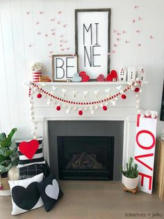 Be Mine Valentine's Day Mantel Ideas! Create a beautiful mantel with these e… Be Mine Valentine's Day Mantel Ideas! Create a beautiful mantel with these easy and inexpensive DIY ideas — modern metal letter typography signs, banners and paper hearts! Little Valentine, My Funny Valentine, Valentines Day Party, Valentine Day Love, Valentine Day Crafts, Homemade Valentines, Valentine Wreath, Romantic Valentine Ideas, Diy Valentine's Day