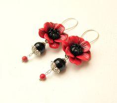 Red poppy  Red earrings  Flowers  Jade jewelry  by insoujewelry, $31.00