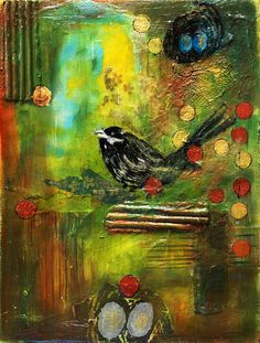'Black Bird, Mixed Media Painting' by ishitabandyo. This painting was mostly about exploring texture. My art is often based around using found materials and in this painting I was able to do that to create an environment. Painting Collage, Mixed Media Painting, Mixed Media Collage, Collage Art, Paintings, Collages, Art Journal Inspiration, Journal Ideas, Art Journal Pages