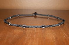 Men's Clear Bead Black Hemp Choker Necklace by MidwestTexanDesigns