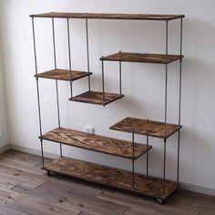 "wood iron shelf ""L wide"" Steel Furniture, Rustic Furniture, Home Furniture, Furniture Design, Shelving Design, Shelf Design, Diy Home Decor Bedroom, Living Room Decor, Iron Shelf"