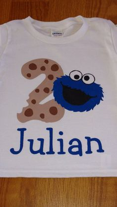 dffb61dc47c Cookie Monster - Sesame Street - 2nd Birthday Boy Bodysuit or T-Shirt -  Personalized