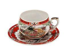 Jogo de Xícaras de Chá com Pires Orient - Vermelho                              …