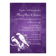 Elegant Wedding Love Birds Purple Custom Announcement