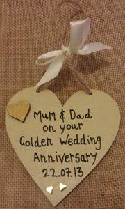 GOLDEN WEDDING ANNIVERSARY HEART With a heart