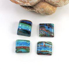 11 mm Square Shape Mix Size Rainbow Calsilica Cab 4 Pice Gemstone Unique Gemstone Healing Gemstone Gems-1