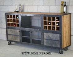 Industrial Liquor Cabinet Reclaimed wood Bar Cart. by leecowen