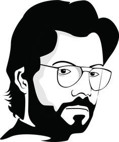 La Casa De Papel Tee Sirt El Profesor Cute Sticker by Jhonny Selva - White Background - Dark Art Drawings, Pencil Art Drawings, Art Drawings Sketches, Cute Drawings, Black And White Art Drawing, Black And White Sketches, Mandala Art Lesson, Mandala Drawing, Indian Art Paintings