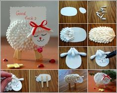 DIY cute cotton swab lamb name card holder Art Projects For Adults, Arts And Crafts Projects, Cute Crafts, Crafts For Kids, Lamb Craft, Cute Lamb, Sheep Crafts, Name Card Holder, Art Diy