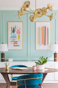 Office Interior Design, Home Office Decor, Office Interiors, Interior Decorating, Fun Office Design, Office Ideas, Home Office Colors, Funky Home Decor, Pastel Home Decor