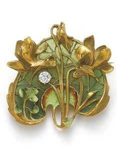 An Art Nouveau gold, plique-a-jour enamel and diamond brooch, by Lucien Gautrait, 1900s.