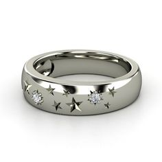 Sterling Silver Ring with Diamond  | Written in the Stars Ring | would love this if it was in platinum with some purple in there