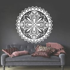 Mandala Wall Stickers Decals Indian Pattern Yoga Oum Om Sign Decal Vinyl Home Decor Art Murals Ah187 Om Sign, Yoga Studio Decor, Indian Patterns, Studio Ideas, Wall Stickers, Murals, Decal, Spa, Wall Art