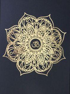 Gold Foil Wall Art Print- Mandala Unframed