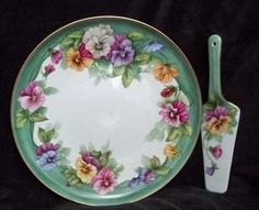 porcelain cake plate and server