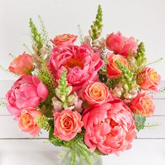 coral rose bouquet | Pastel Vibrant White Pink & red Blue, lilac & purple Yellow & orange
