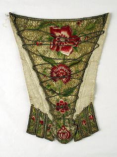 I love the embroidery! Stomacher Date: ca. 1720 Culture: British Medium: metal, silk, flax Dimensions: Length: 13 in. 18th Century Clothing, 18th Century Fashion, Vintage Dresses, Vintage Outfits, Vintage Fashion, Historical Costume, Historical Clothing, Textiles, Met Museum Of Art