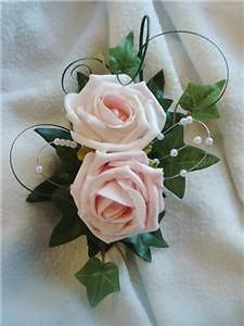 Pink and pearl lapel corsage for grandmother of the bride