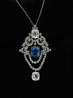 Tiffany & Co., Pendant brooch, ca. 1900 • Platinum, diamond, sapphire • Museum of the City of New York, Bequest of Mrs. V. S. Young, 82.163....