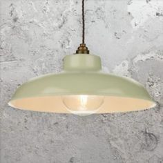 Large Dome 1 Light Metal Cream Industrial Pendant Light with Antique Brass inner shade and chain. Ideal for Vintage Globe Edison Lamps. Plug In Pendant Light, Industrial Pendant Lights, Kitchen Pendant Lighting, Pendant Lamp, Industrial Light Fittings, Vintage Industrial Lighting, Lighting Uk, Lighting Ideas, Green Cream