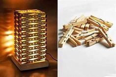 linda lampara hecha con ganchos de madera para ropa