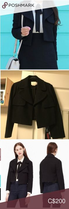kate spade black cropped blazer jacket nwot size 4 brand new never worn super cute and flattering it says size 4 but it can fit size small in my opinion :) its from the sample collection so you really will turn heads with this unique classic piece! great for fall winter and classic never goes out of style :) wear with a cute dress, skirt, pants--it goes with everything!  happy to bundle and discount so check my closet for tons of kate spade items for sale!  offers welcome so dont be shy :)… Cropped Blazer, Blazer Jacket, Skirt Pants, Dress Skirt, Plus Fashion, Fashion Tips, Fashion Trends, Colored Blazer, Cute Dresses