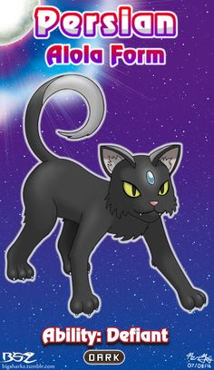 I decided to start making custom Alola Form Pokémon here's Dark Persian!