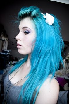Bright blue hair - to achieve this colour, pre-lighten hair to pale yellow for best results. Bright colours like this need to be applied to light hair or they will look dull...