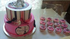 Paris  themed cake & matching cupcakes