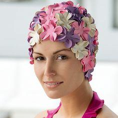 Bonnet de bain à fleurs pour femme fantaisie , Abysse,sport