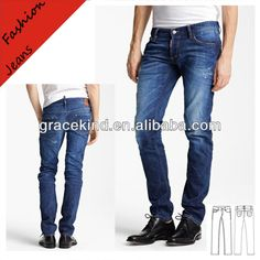 the fashion skinny blue cotton men washed jeans with brand MK874 $6~$13