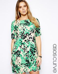 ASOS CURVE Shift Dress In Animal Print