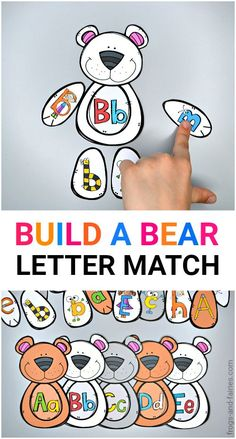 Practicing upper and lower letter recognition will be fun with this adorable Build a Bear Letter Match printable activity! Your kids will build the letter bears by recognizing letters in fun bee, watermelon, bug, apple, pencils and more cute styles! #printableactivitiesforkids #letterrecognition #preschool