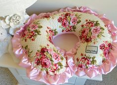 Rambling Roses Nursing Pillow Cover, Baby Pink Boppy Cover, Minky Super Soft, Baby Girl Nursing Pillow Cover