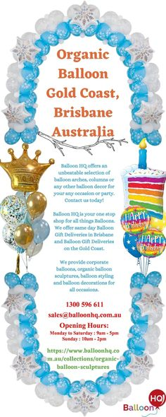Balloon decorations are always on trend, and no matter what the function it is, balloons are the required things that increase the beauty of the event. We at Balloon HQ are specialize in all type of balloon decoration. For more details contact us+61 1300 596 611 or visit our website. Balloon Gift, Balloon Arch, Balloons, Balloon Delivery, Brisbane Australia, Balloon Decorations, Gold Coast, Happy Shopping, Special Events