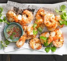 Salt & pepper prawns recipe - Recipes - BBC Good Food Pass on the garlic on the dipping sauce and BOOM! Low FODMAP too! Fish Recipes, Seafood Recipes, Asian Recipes, Chinese Recipes, Chinese Food, Chinese Style, Unislim Recipes, Chinese Meals, Recipies