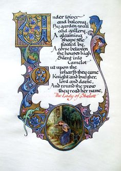 written, and illuminated by Alberto Sangorski. Onlaid morocco binding by Riviere & Son with morocco onlay doublures and watered silk free endleaves. Housed in a velvet-lined morocco clamshell case. Medieval Manuscript, Medieval Art, Illuminated Letters, Illuminated Manuscript, The Lady Of Shalott, Illumination Art, Book Of Kells, Letter Example, Book Of Hours