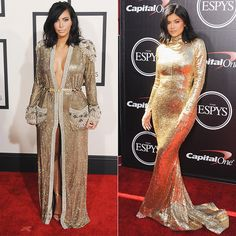 All the Times Kim Kardashian and Kylie JennerLooked Alike - Gilded Gowns FTW  - from InStyle.com