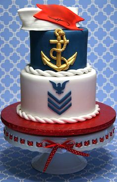 Navy - This is for a girl that enlisted in the Navy. 8 6 rounds covered in fondant with all fondant accents. Blueberry muffin cake with cream cheese filling. Cupcakes, Cupcake Cakes, Shoe Cakes, Navy Party Themes, Sailor Cake, Blueberry Muffin Cake, Navy Cakes, Pink Cakes, Military Cake