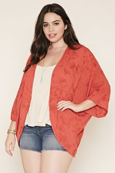 Forever 21+ - A woven kimono featuring allover floral embroidery with short dolman sleeves and an open front.