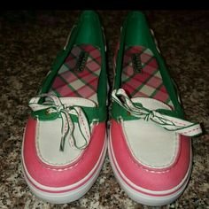 NWT - Sperry Top-Rider Pink, green and ivory beautiful boat shoes Sperry Top-Sider Shoes Flats & Loafers