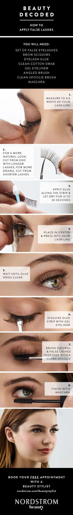 How to apply false lashes in 7 easy steps. Tips from the beauty pros at Nordstrom that will help make you look flawless every time you wear fake eyelashes. Make sure you have a good eyelash glue and let it try for up about 30 seconds before applying. #applyinglashes