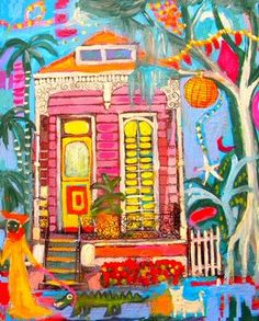 New Orleans Shotgun House on Bayou St John near the French Quarter Bourbon street cats palm trees signed by the artist Linda Morgan Smith