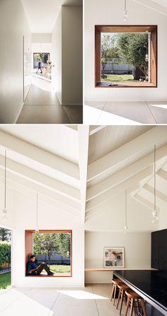 ideas for stairs window seat ceilings Wood Windows, Arched Windows, Stairs Window, Window Seats, Bay Window, Window Reveal, Sleeping Nook, Building Stairs, Modern Shelving