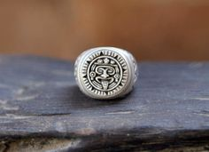 Mayan Ring, Silver Ring, Patterned Ring, Personalized, Mens Sterling Silver Aztec Style Hand made, Brushed Solid Sterling Ring, Man Ring, by DonBiuSilver on Etsy https://www.etsy.com/listing/209669370/mayan-ring-silver-ring-patterned-ring
